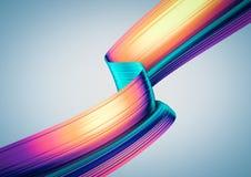 3D rendem o fundo abstrato Estilo colorido formas 90s torcidas no movimento Arte digital iridescente para o cartaz, fundo da band Imagens de Stock