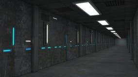 3D rendem o interior Corredor futurista Fotos de Stock Royalty Free