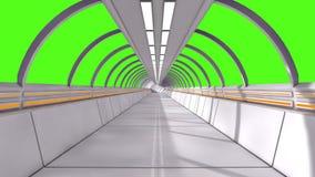 3D rendem o interior Corredor futurista e tela verde ilustração stock