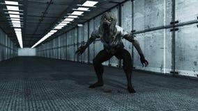 3d rendem o interior e o zombi Imagens de Stock Royalty Free