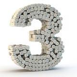 3D rendem o número três Fotografia de Stock