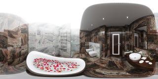 3d rendem o panorama do design de interiores do banheiro Fotografia de Stock Royalty Free
