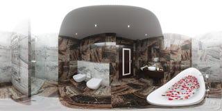 3d rendem o panorama do design de interiores do banheiro Imagens de Stock Royalty Free