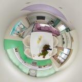 3d rendem o panorama 360 do interior da sala de visitas Fotografia de Stock