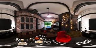 3d rendem o panorama sem emenda do design de interiores no chiqueiro do sótão Fotos de Stock Royalty Free