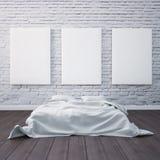 3d rendem o quarto com uma cama e as imagens no assoalho e na parede Artista do estúdio do modelo Fotografia de Stock Royalty Free