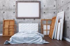 3d rendem o quarto com uma cama e as imagens no assoalho e na parede Artista do estúdio do modelo Imagem de Stock