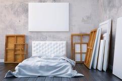 3d rendem o quarto com uma cama e as imagens no assoalho e na parede Artista do estúdio do modelo Fotos de Stock