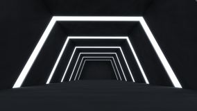3D rendem o sumário e a sala escura futurista ilustração stock