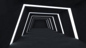 3D rendem o sumário e a sala escura futurista ilustração do vetor