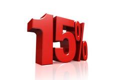 3D rendem o texto em 15 por cento no vermelho Foto de Stock Royalty Free