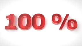3D rendem o texto vermelho 100 por cento fora Imagem de Stock