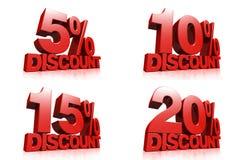 3D rendem o texto vermelho um disconto de 5,10,15,20 por cento Fotografia de Stock Royalty Free