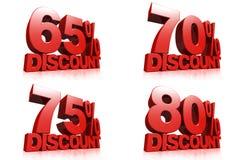 3D rendem o texto vermelho um disconto de 65,70,75,80 por cento Foto de Stock