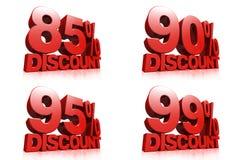 3D rendem o texto vermelho um disconto de 85,90,95,99 por cento ilustração stock