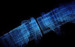 3D rendem o visualização do espaço virtual da matriz da cidade ilustração royalty free