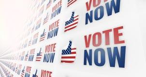 3d rendem o voto agora América EUA que os polegares projetam acima Fotos de Stock Royalty Free