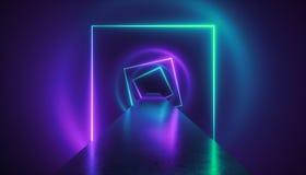 3d rendem, pódio da forma, ambiente da realidade virtual, luz de néon, túnel quadrado, fundo abstrato ultravioleta ilustração stock