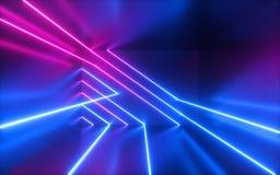 3d rendem, picam linhas de n?on azuis, formas geom?tricas, espa?o virtual, luz ultravioleta, estilo dos anos 80, disco retro, mos ilustração do vetor