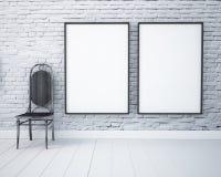 3d rendem Zombaria acima do cartaz no interior do moderno Fundo Fotografia de Stock