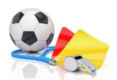 3d rendent - concept du football - le sifflement - le football - rouge et hurlent Photographie stock libre de droits