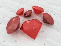 3D rendent d'un groupe de rubis sur une surface en bois Images stock