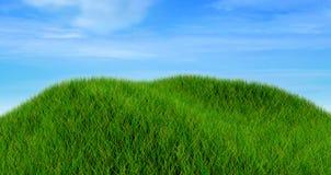 3D rendent d'un paysage d'herbe contre un ciel bleu nuageux Image stock