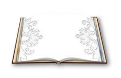 3D rendent d'un photobook ouvert avec les décorations florales d'un thème Images stock