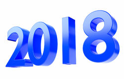 2018 3D rendent dans le bleu, d'isolement sur le fond blanc et avec le chemin de coupure Image libre de droits