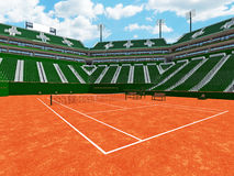3D rendent de beaux sièges modernes de vert de stade de cour d'argile de tennis pour quinze mille fans illustration stock