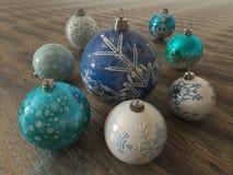 3D rendent de belles décorations bleues et blanches de vacances sur la surface en bois Photos libres de droits