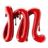3D rendent de l'alphabet rouge font à partir du vernis à ongles Lettre cursive manuscrite M D'isolement sur le blanc Photo libre de droits