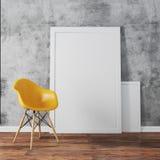 3d rendent de l'intérieur avec les cadres d'un blanc et le plancher en bois illustration stock