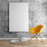 3d rendent de l'intérieur avec un cadre vide et un plancher en bois illustration stock