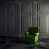3d rendent de l'intérieur et du fauteuil de vintage Images libres de droits