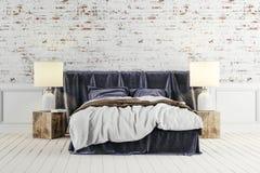 3d rendent de la belle chambre à coucher industrielle de style illustration libre de droits