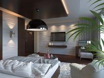 3d rendent de la conception intérieure de chambre à coucher dans un style contemporain illustration libre de droits