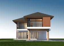 3D rendent de la maison tropicale avec le chemin de coupure Image libre de droits