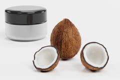3D rendent de la noix de coco avec la crème Photographie stock