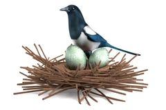 3d rendent de la pie avec le nid illustration de vecteur