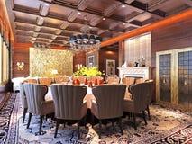 3d rendent de la salle à manger vivante et de luxe Photos libres de droits