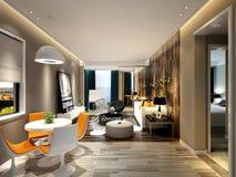 3d rendent de la salle à manger vivante et de luxe Photo stock