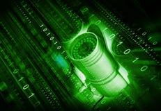 3d rendent de la vidéo surveillance avec les courants binaires Photo libre de droits