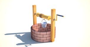 3d rendent de puits d'eau sur le fond blanc Photos libres de droits