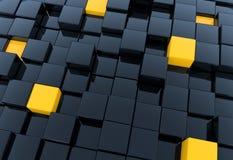 3D rendent des cubes noirs et jaunes Photographie stock libre de droits