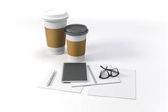 3d rendent - des documents et des tasses de café Photographie stock libre de droits