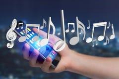 3d rendent des notes de musique sur une interface futuriste Photos libres de droits