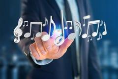 3d rendent des notes de musique sur une interface futuriste Images stock