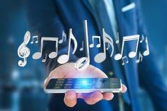 3d rendent des notes de musique sur une interface futuriste Images libres de droits