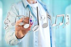 3d rendent des notes de musique sur une interface futuriste Photographie stock libre de droits